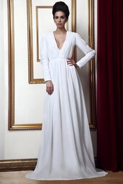 Elegant Long-Sleeves V-Neckline Floor-Length Taline's Mother of Bride Dress
