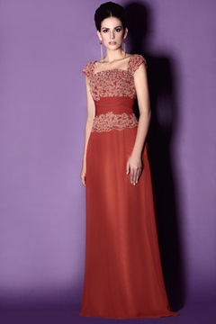 Charming Lace Trimmed Sheath Square Neckline Floor-Length Taline's Mother of the Bride Dress
