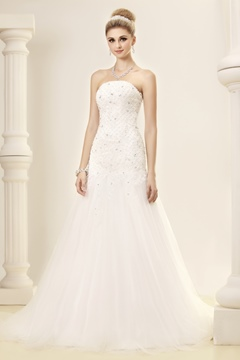 ELegant Slight Mermaid/Trumpet Strapless Court Train Dasha's Wedding Dress