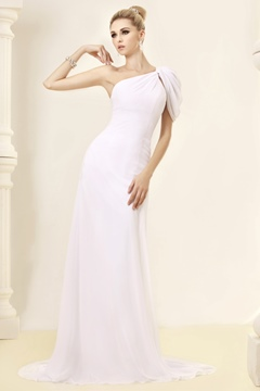 Fabulous Sheath/Column One-shoulder Floor-Length Chapel Beadings Wedding Dresses