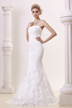 Glorious Trumpet/Mermaid Strapless Lace Chapel Wedding Dress With Jacket/Shawl