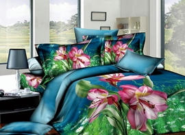 Likesome Blue Printed 4 Piece Cotton Comforter Sets with Pink Flowers