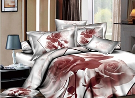Engrammic Light Brown Rose Printed 4 Piece Comforter Sets with Cotton