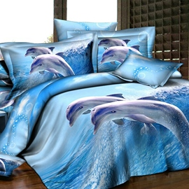 Fairylike Blue Dolphins 4-Piece Active Print Bedding Sets with Cotton