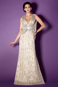 Fashionable Sequined Sheath/Column V-Neck Floor-Length Taline's Mother of the Bride Dress
