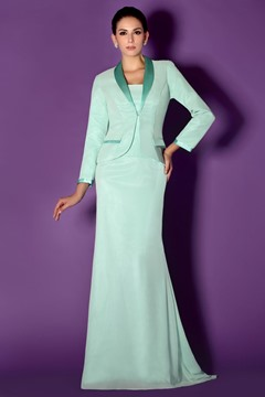 Sheath/Column Strapless Floor-Length Taline's Mother of the Bride Dresses With Jacket/Shawl