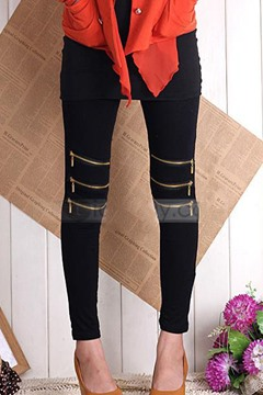 Ericdress Cotton?Zippered Elastic Leggings