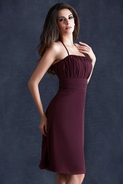 Charming Pleats Sheath/Column Halter Empire Wasit Knee-Length Taline's Bridesmaid Dress