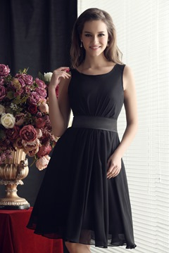 Pleats Scoop Neckline A-line Knee-Length Sandra's Bridesmaid Dress