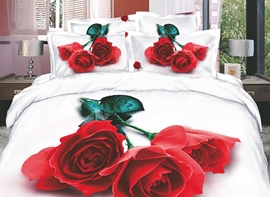 Delicate and Charming Red Rose 4 Piece Cotton Comforter Sets with Printing