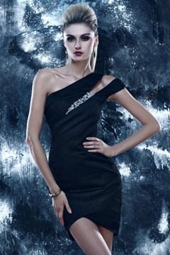 Brilliant A-Line One Shoulder Knee-Length Empire Waistline Dasha's Cocktail/Evening Dress