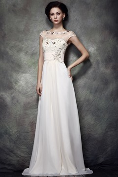 Charming Lace Sequins A-Line Bateaul Neckline Floor-Length Polina's Mother of Bride Dress