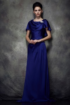 Delicate Sheath/Column Scoop Neckline Floor-Length Polina's Mother of the Bride Dress