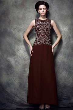 Elegant Appliques/Beading A-Line Floor-Length Jewel Neckline Polina's Mother of the Bride Dress