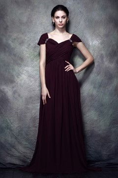 Wonderful Capped Sleeves A-line Floor-Length Pleats Polina's Mother of The Bride Dress