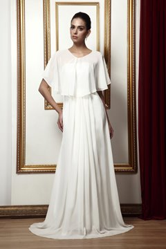 Fabulous A-Line Draped Floor-Length Taline's Mother of Bride Dress