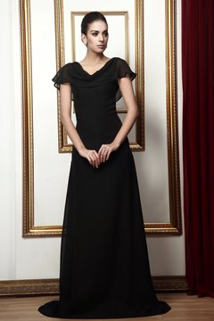 Attractive A-Line V-neck Short Sleeves Floor-Length Taline's Mother Dress