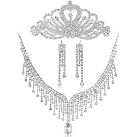 Dramatic Alloy Tassels with Rhinestone Wedding Jewelry Set(Including Tiara