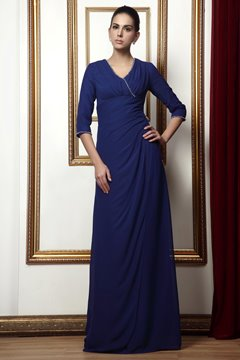 Classy Sheath V-neck 3/4-length Sleeves Floor-length Taline's Mother of The Bride Dress