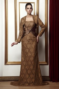 Attractive Lace Trumpet/Mermaid Strapless Mother of the Bride Dress With Jacket/Shawl