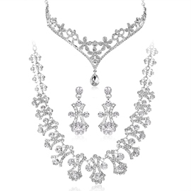 Attractive Silvery Alloy with Rhinestone Wedding Jewelry Set(Including Tiara