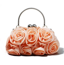 Gorgeous Pleated Satin Flowers Evening/wedding Handbag