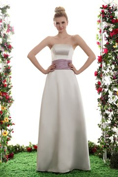 A-Line Strapless Floor Length Bridesmaid Dress