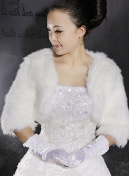 Brilliant Pure Faux Fur Half-sleeve Wedding Jacket/Wrap/shawl