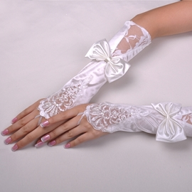 Fascinating Long Finger-less Satin with Lace Applique and Bowknot Wedding Glove