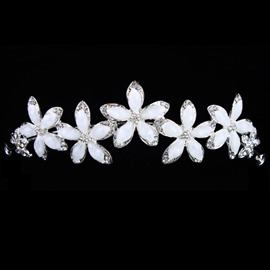 Charming Alloy with Flower Resins Wedding Bridal Tiara