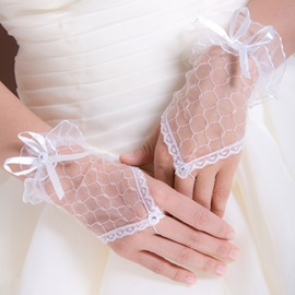Delicate Finger-less Short Yarn Wedding Glove(3colors)
