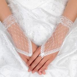 Graceful Short Finger-less Grid Yarn Wedding Glove