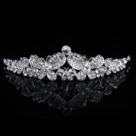 Stunning Alloy with Butterfly Shaped Rhinestone Wedding Tiara