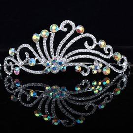 Peacock Colorful Rhinestone Wedding Tiara