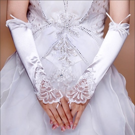 Fabulous Fingerless Bridal/Wedding Gloves with Lace Applique and Cute Flower