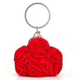 Delicate Big Satin Flowers Handbag For Wedding/Evening(3colors)