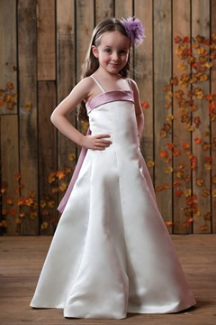 Fancy A-line Spaghetti straps Satin Flower Girls Dress