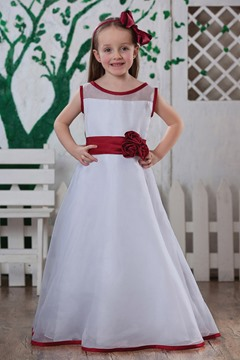 Pretty A-line Tea -length Bateau Flower Girl Dress