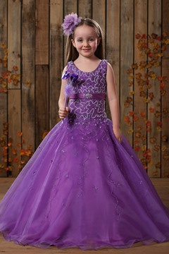 Comely Ball Gown Scoop Floor-length Beaded Flower Girl Dress