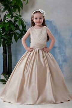 Fantastic Scoop Knee-length Pleats Flower Girl Dress