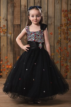 Lovely A-line Sqaure Knee-length Rhinestone Flower Girl Dress