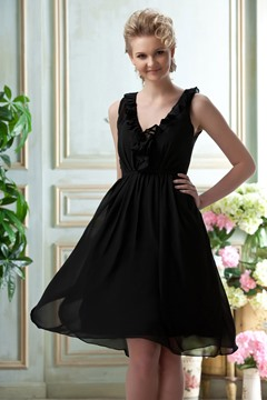 V Neckline Sleeveless Knee Length Ruffles Bridesmaid Dress
