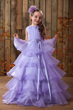 Cute A-Line Scoop Floor-length Tiered Flower Girl Dress