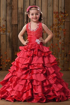 Fadish A-line Halter Floor-length Tiered & Beaded Flower Girl Dress