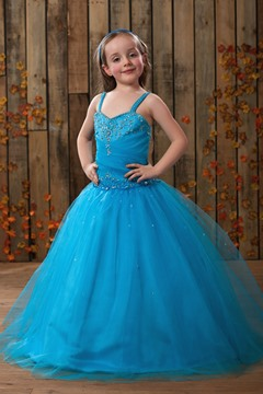 Attractive Ball Gown Floor-length Sphaghetti Straps Appliques Flower Girl Dress