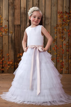 Comely A-line Jewel Tea-length Tiered Flower Girl Dress