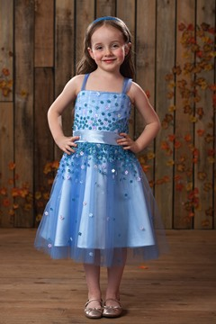 Cute A-line Square Knee-length Appliques Flower Girl Dress