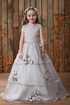 Lovely Ball Gown Floor-length Bateau Appliques Flower Girl Dress