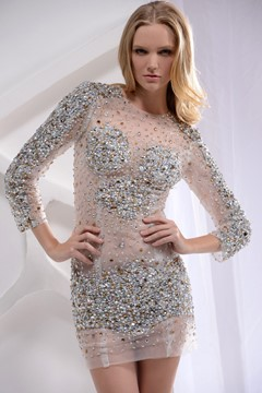 Brilliant Sheath/Column Bateau Long-Sleeve Mini-Length Crystal Sequins Cocktail Dress