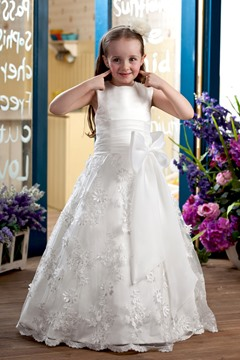 Amazing A-line Ankle-length Sleeveless Appliques & Bowknot Flower Girl Dress